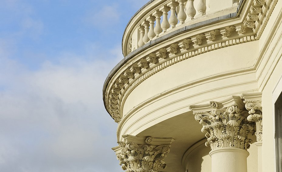 The Mansion features beautiful architectural details